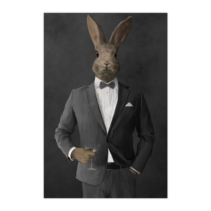 Rabbit drinking martini wearing gray suit large wall art print