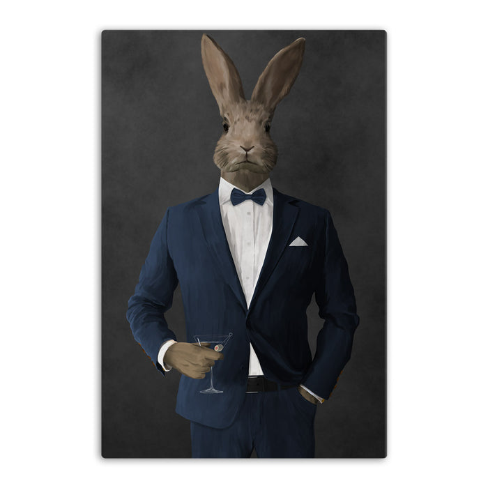 Rabbit drinking martini wearing navy suit canvas wall art
