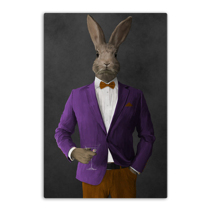 Rabbit drinking martini wearing purple and orange suit canvas wall art
