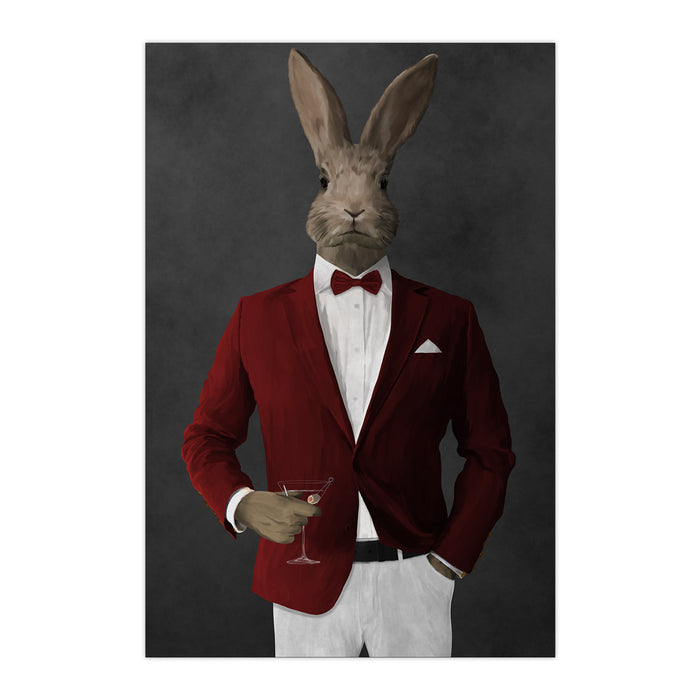 Rabbit drinking martini wearing red and white suit large wall art print