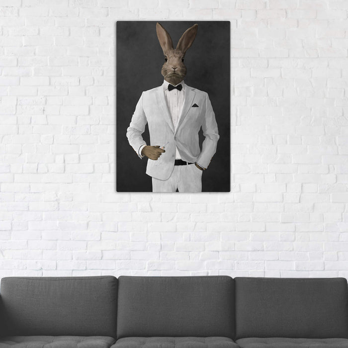 Rabbit Drinking Martini Wall Art - White Suit