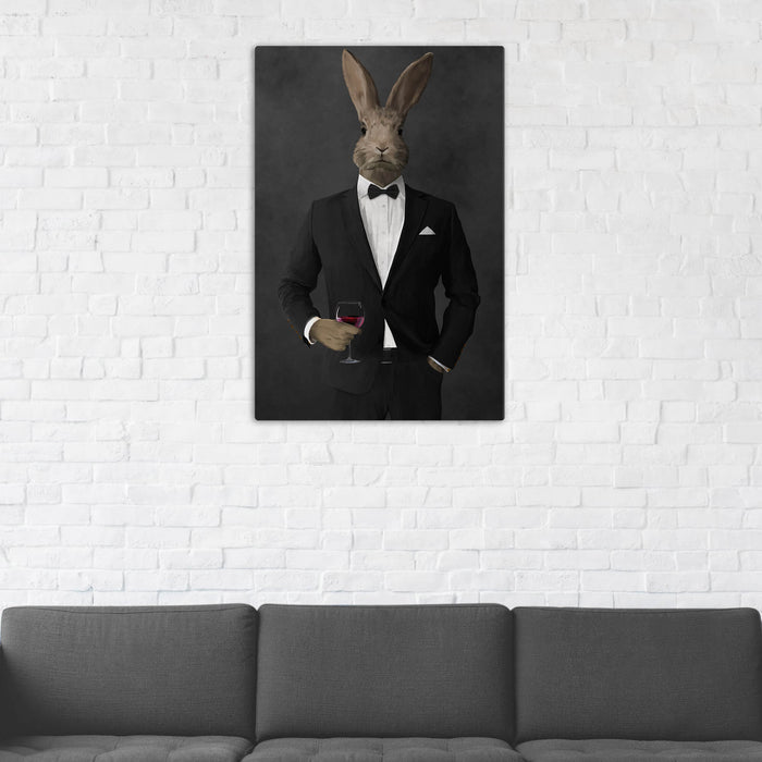 Rabbit Drinking Red Wine Wall Art - Black Suit