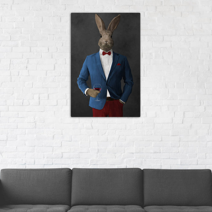 Rabbit Drinking Red Wine Wall Art - Blue and Red Suit