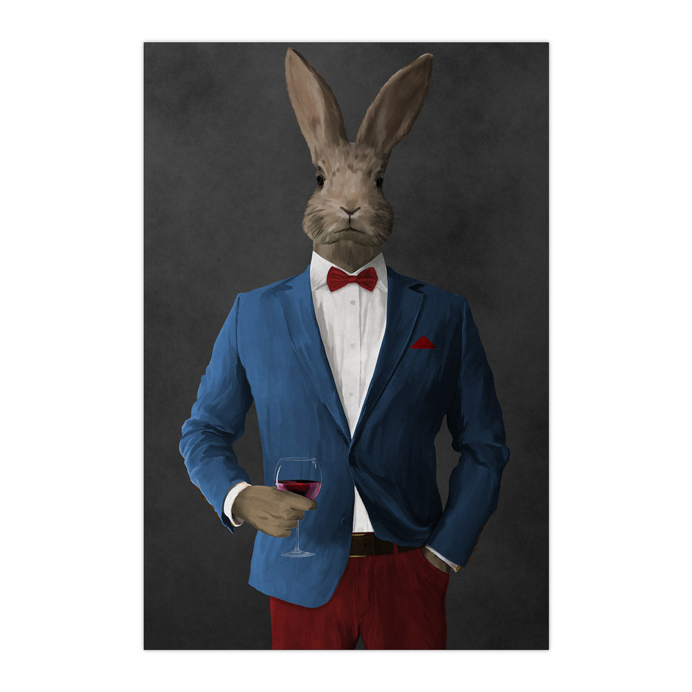 Rabbit drinking red wine wearing blue and red suit large wall art print