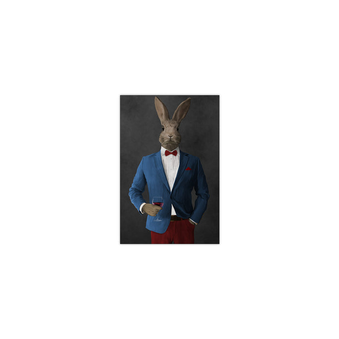 Rabbit drinking red wine wearing blue and red suit small wall art print