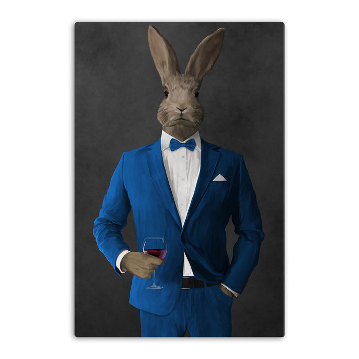 Rabbit drinking red wine wearing blue suit canvas wall art