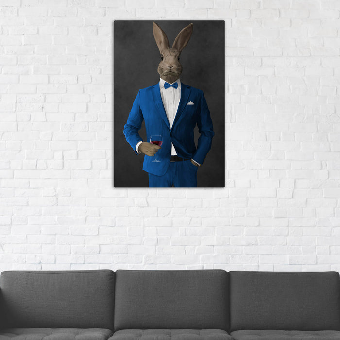Rabbit Drinking Red Wine Wall Art - Blue Suit