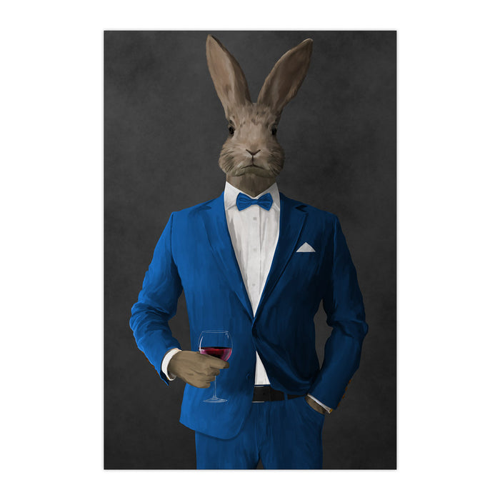 Rabbit drinking red wine wearing blue suit large wall art print