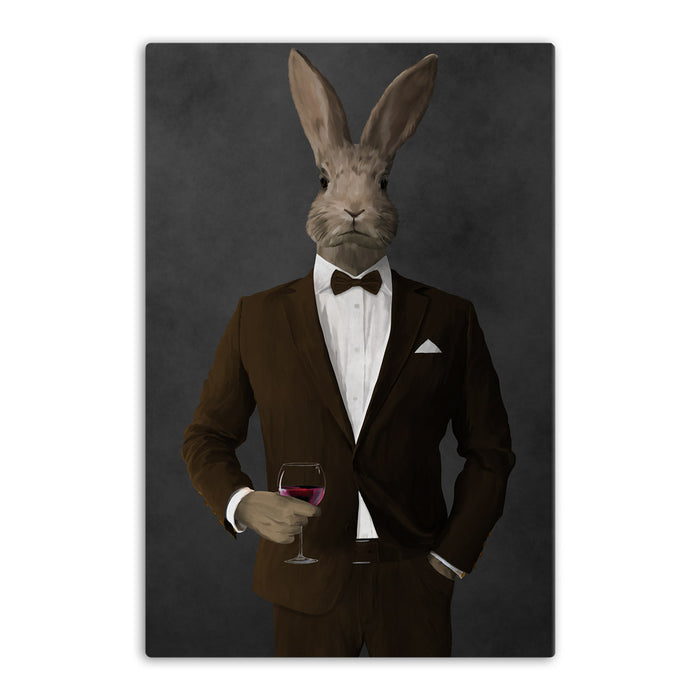 Rabbit drinking red wine wearing brown suit canvas wall art