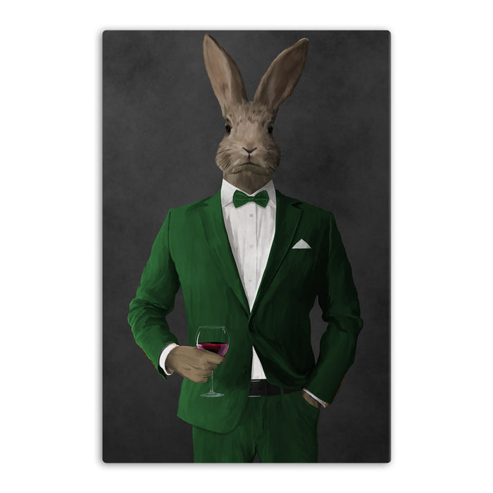Rabbit drinking red wine wearing green suit canvas wall art