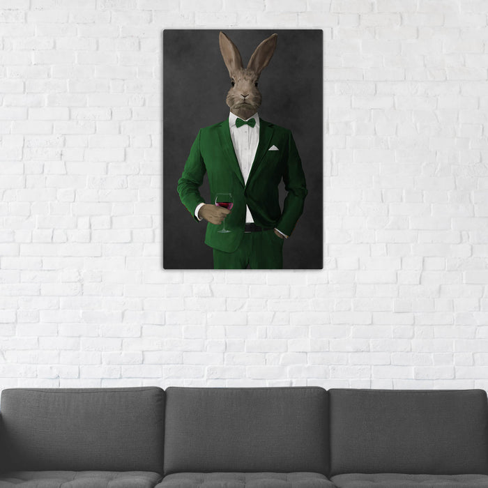 Rabbit Drinking Red Wine Wall Art - Green Suit