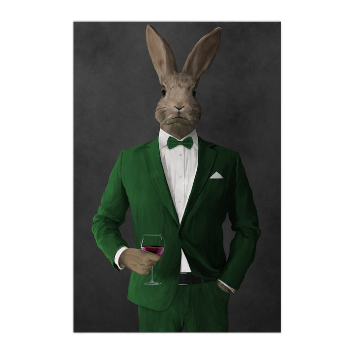 Rabbit drinking red wine wearing green suit large wall art print