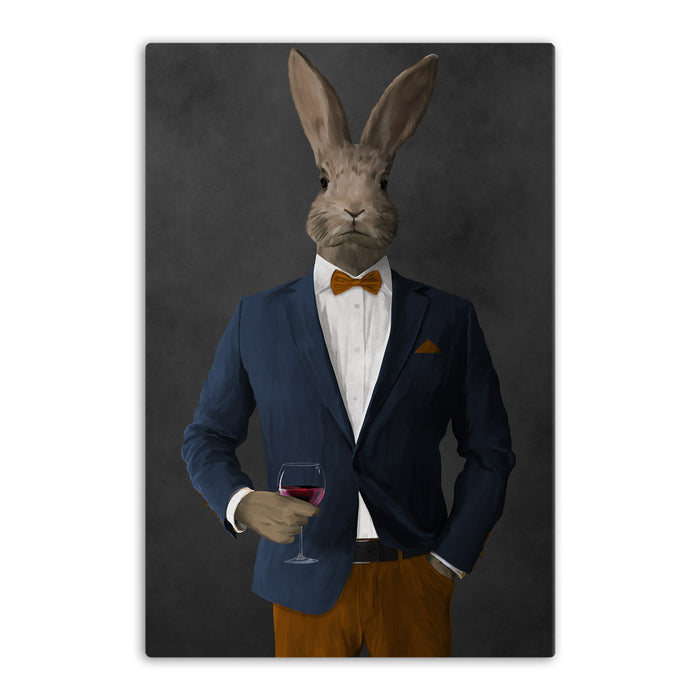 Rabbit drinking red wine wearing navy and orange suit canvas wall art