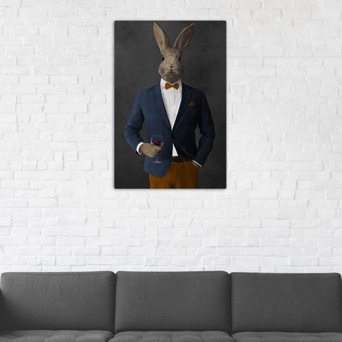 Rabbit Drinking Red Wine Wall Art - Navy and Orange Suit