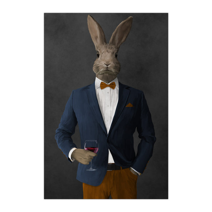 Rabbit drinking red wine wearing navy and orange suit large wall art print