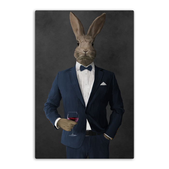 Rabbit drinking red wine wearing navy suit canvas wall art