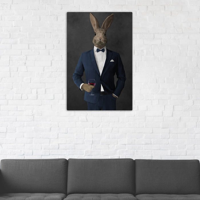 Rabbit Drinking Red Wine Wall Art - Navy Suit