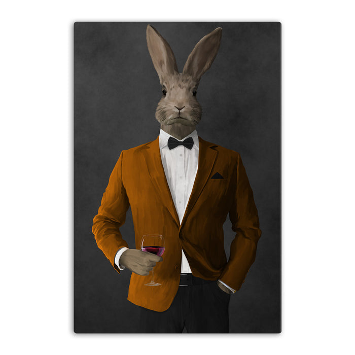 Rabbit drinking red wine wearing orange and black suit canvas wall art