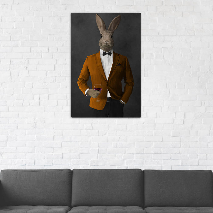 Rabbit Drinking Red Wine Wall Art - Orange and Black Suit