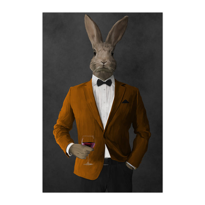 Rabbit drinking red wine wearing orange and black suit large wall art print
