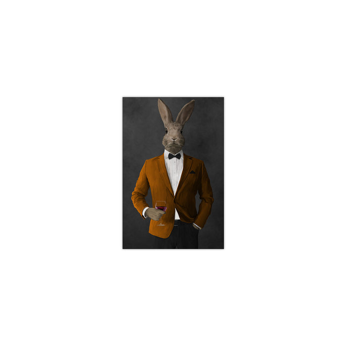 Rabbit drinking red wine wearing orange and black suit small wall art print