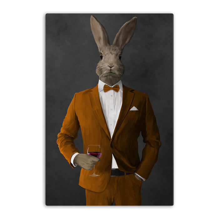 Rabbit drinking red wine wearing orange suit canvas wall art