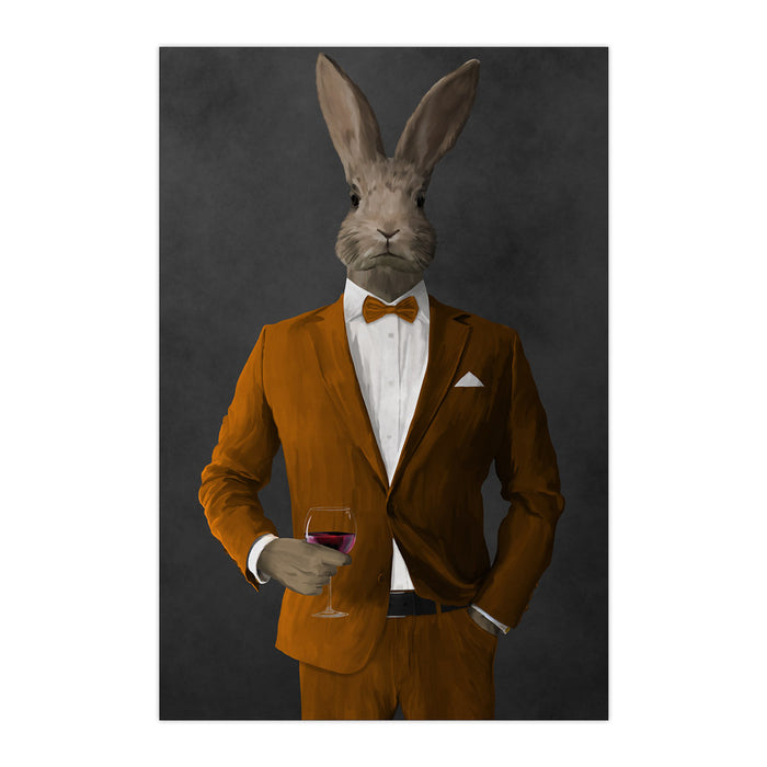 Rabbit drinking red wine wearing orange suit large wall art print