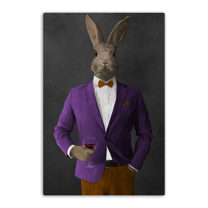 Rabbit drinking red wine wearing purple and orange suit canvas wall art