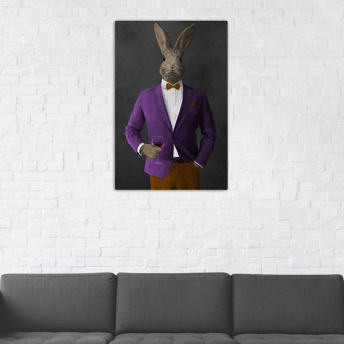 Rabbit Drinking Red Wine Wall Art - Purple and Orange Suit