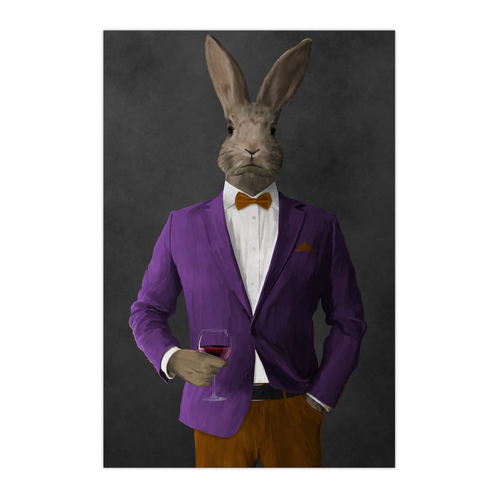 Rabbit drinking red wine wearing purple and orange suit large wall art print