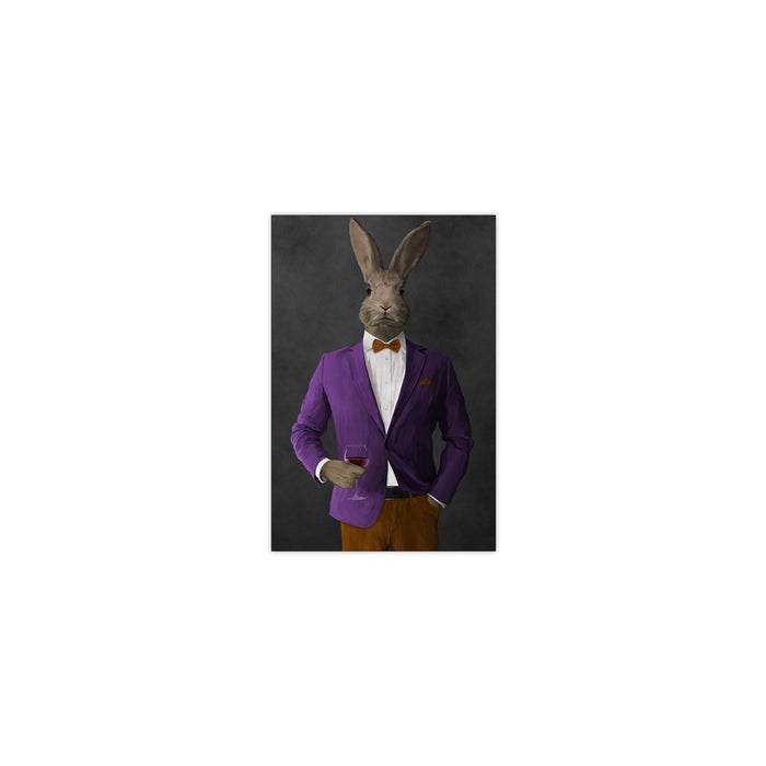 Rabbit drinking red wine wearing purple and orange suit small wall art print