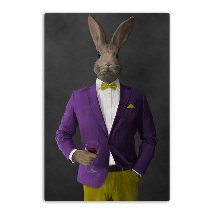 Rabbit drinking red wine wearing purple and yellow suit canvas wall art