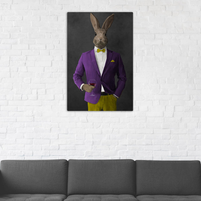 Rabbit Drinking Red Wine Wall Art - Purple and Yellow Suit