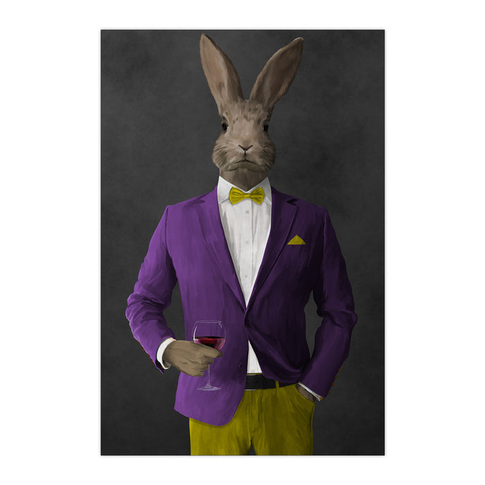 Rabbit drinking red wine wearing purple and yellow suit large wall art print