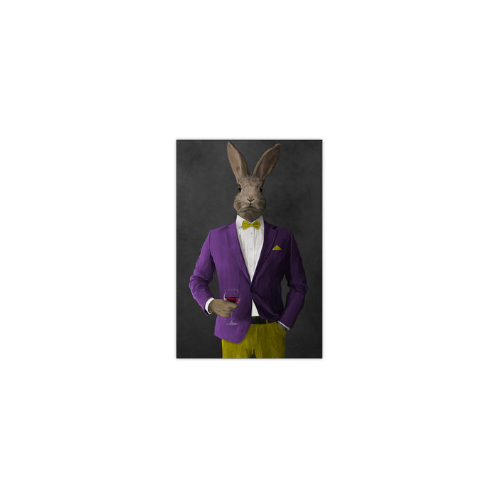 Rabbit drinking red wine wearing purple and yellow suit small wall art print