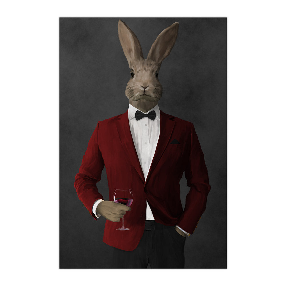 Rabbit drinking red wine wearing red and black suit large wall art print