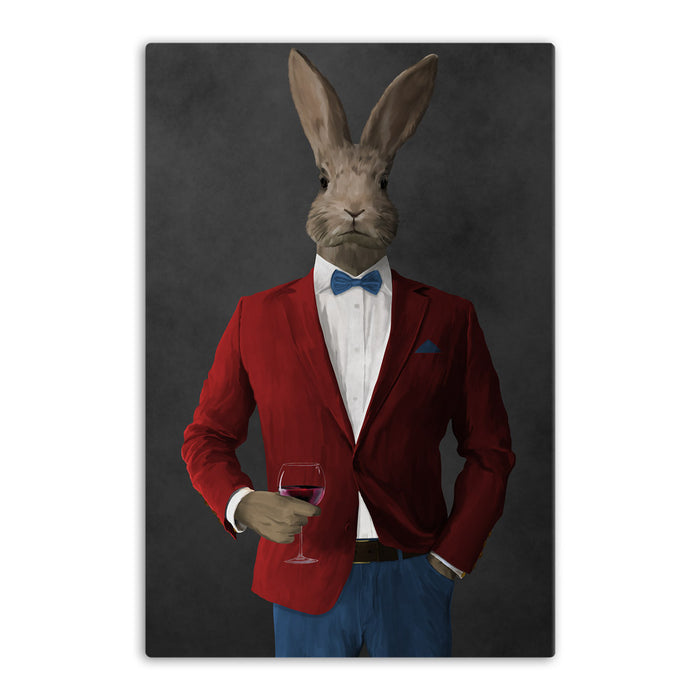 Rabbit drinking red wine wearing red and blue suit canvas wall art