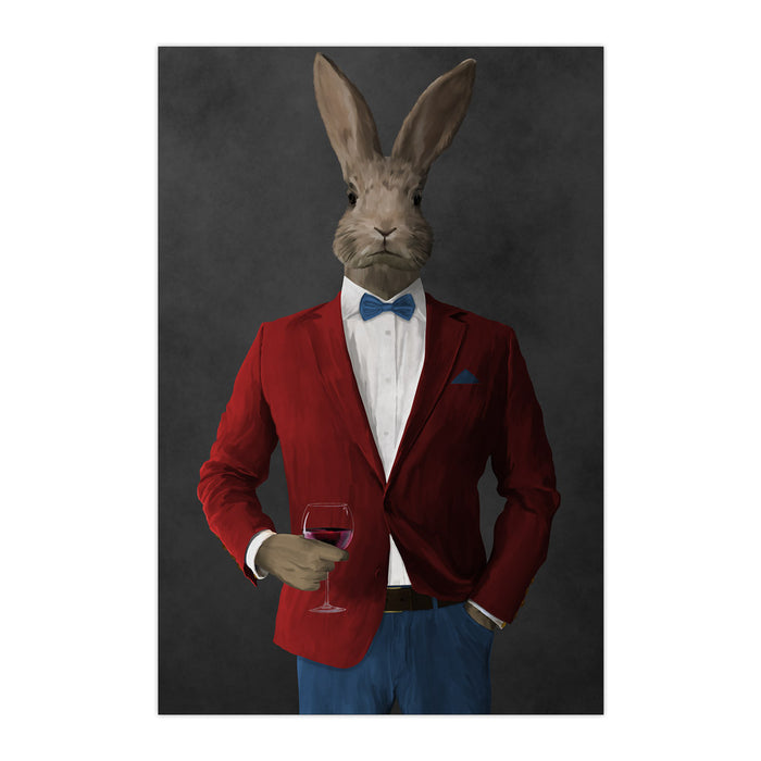 Rabbit drinking red wine wearing red and blue suit large wall art print