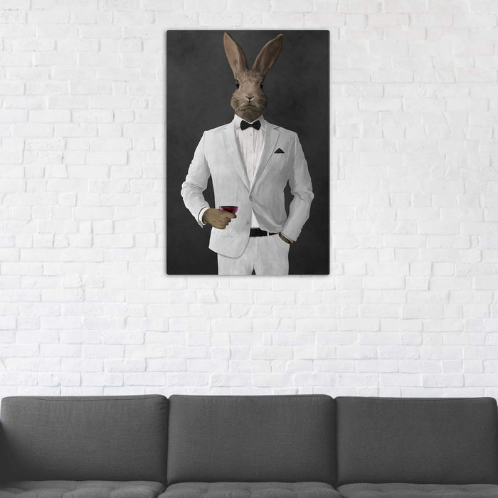 Rabbit Drinking Red Wine Wall Art - White Suit