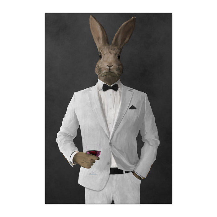 Rabbit drinking red wine wearing white suit large wall art print