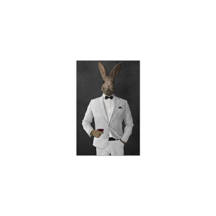 Rabbit drinking red wine wearing white suit small wall art print