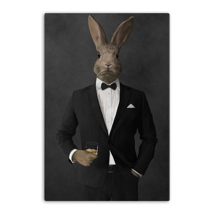 Rabbit drinking whiskey wearing black suit canvas wall art