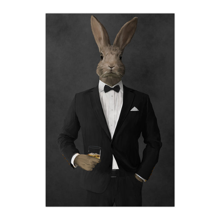 Rabbit drinking whiskey wearing black suit large wall art print