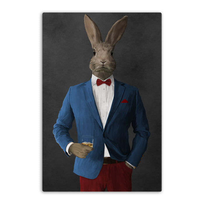 Rabbit drinking whiskey wearing blue and red suit canvas wall art