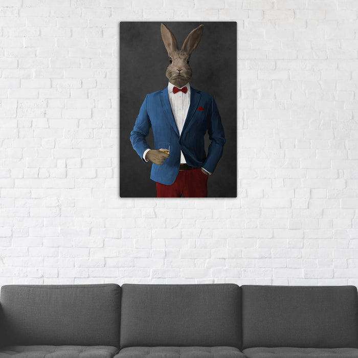 Rabbit Drinking Whiskey Wall Art - Blue and Red Suit