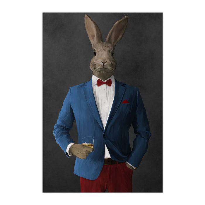 Rabbit drinking whiskey wearing blue and red suit large wall art print