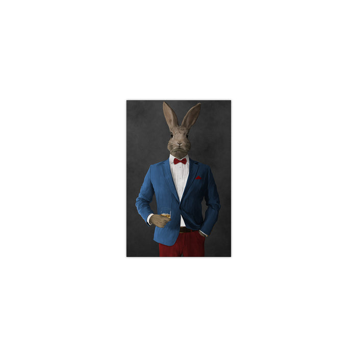 Rabbit drinking whiskey wearing blue and red suit small wall art print