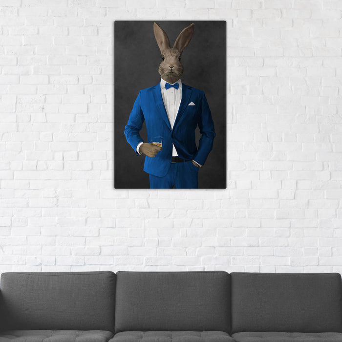Rabbit Drinking Whiskey Wall Art - Blue Suit