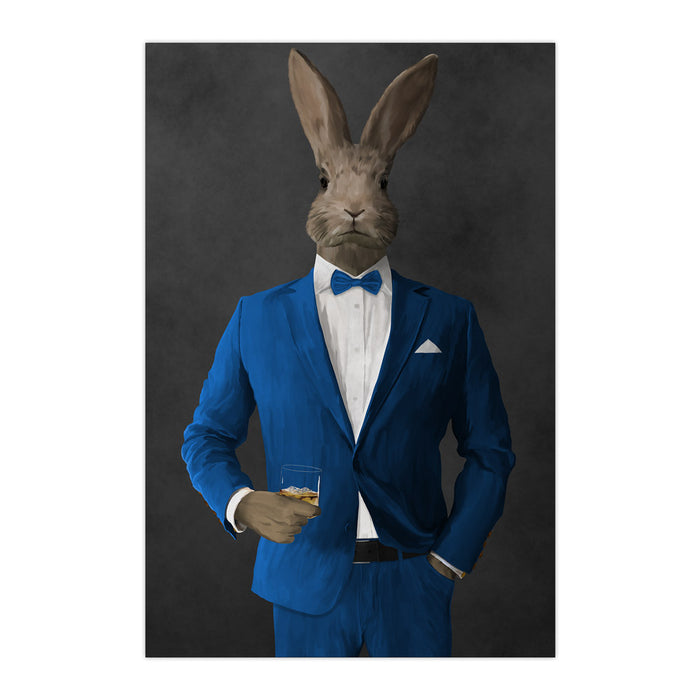 Rabbit drinking whiskey wearing blue suit large wall art print