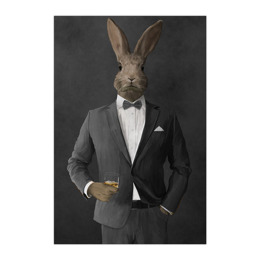 Rabbit drinking whiskey wearing gray suit large wall art print